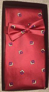 Men-039-s-Silk-Formal-Tuxedo-Bow-Tie-Cummerbund-Set-No-Show-Tie-Strap-Adjuster