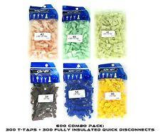 600 PACK T-TAPS + QUICK DISCONNECTS SET MALE (10-12/ 14-16/ 18-22) 100 PCS EACH