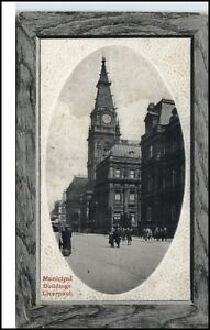 LIVERPOOL-England-Great-Britain-1910-Municipal-Buildings-Street-View-Postcard