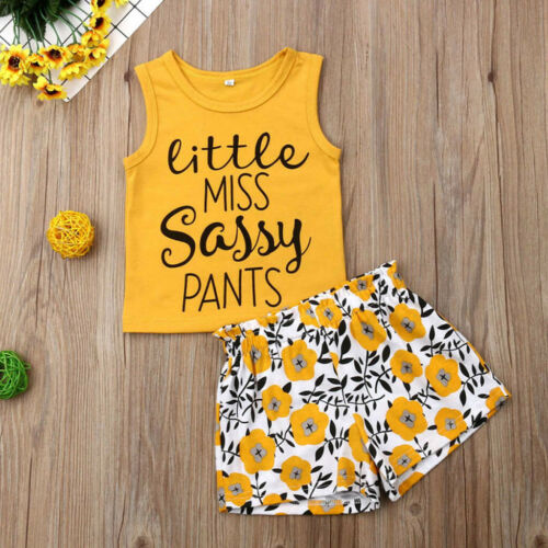 Kids Girls Sleeveless Letter Print Tops+Floral Shorts Outfit Clothes Set Summer