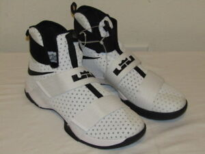 new style 25cf0 79c4a Image is loading Nike-Lebron-LBJ-Soldier-10-White-Black-Hi-