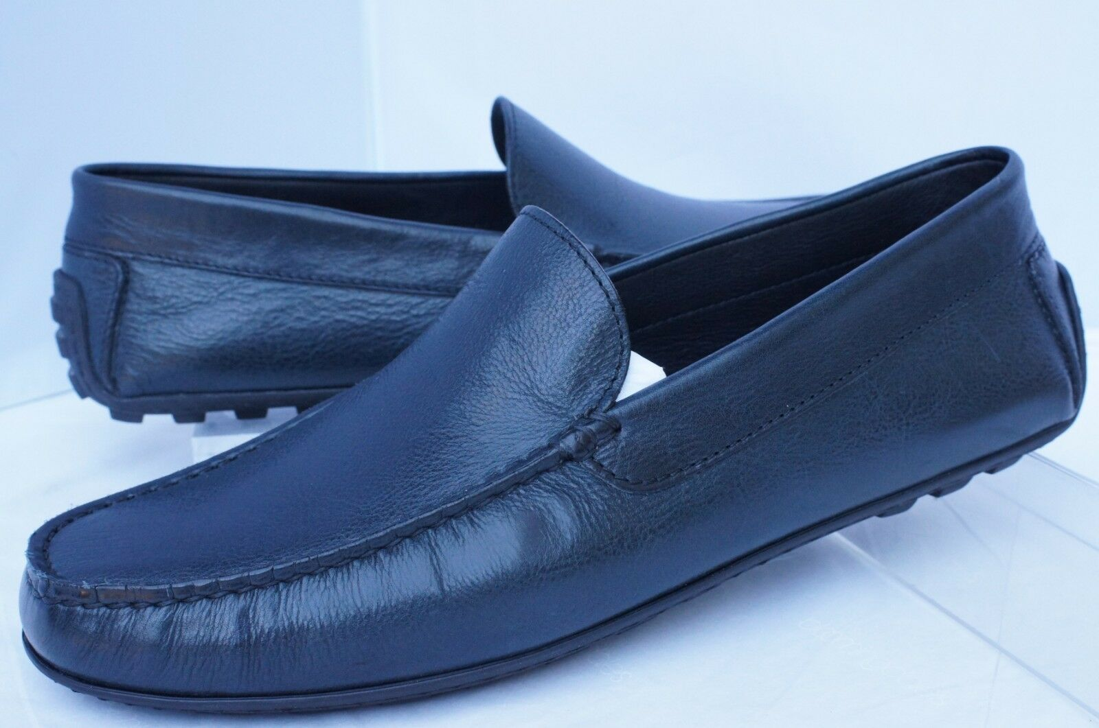 New A.testoni Shoes Drivers Size 9.5 Friendly Navy Loafers Pelle
