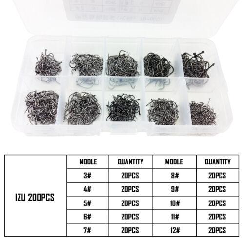 Lot 200-600Pcs Izu Sharp Fishing Hooks 10 Sizes Carbon Steel Jig Tackle Fishhook