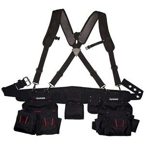 Image Is Loading Black Tool Belt Construction Suspender Strap Holster Pocket