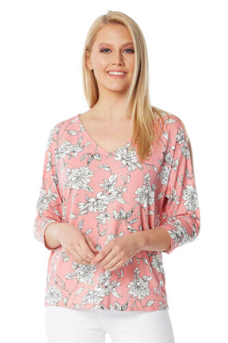 Roman Originals Womens Floral Cold Shoulder Split Sleeve Top