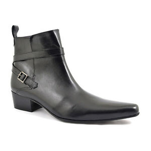 Boots Boot Beat Gucinari Pointed Ankle Alfredo Black Heel Men's Leather Buckle qXaBwg