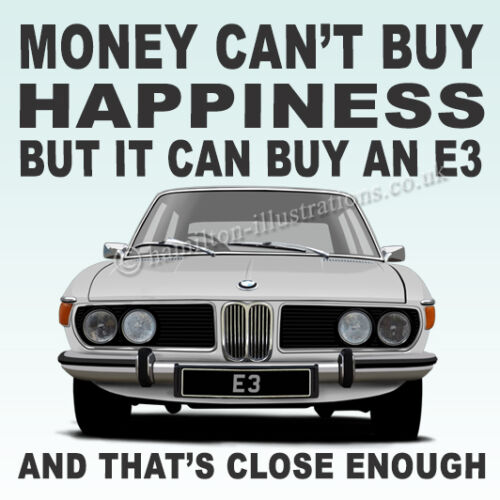 BMW E3 2500 2800 3.3L Art illustration Drinks Coaster