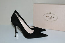 New  sz 10.5 / 40.5 HOT! Prada Black Suede Classic Pointy Toe Pump Heel Shoes