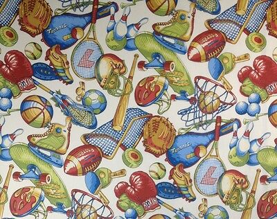 "COVINGTON SPORTS NUT ALL SPORTS THEME FURNITURE FABRIC BY THE YARD 54""W"