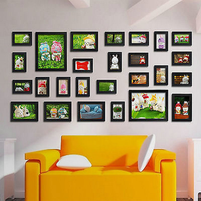 26 PCs Family Home Decor Effect Multi Picture Photo Frames Collage Photos Set