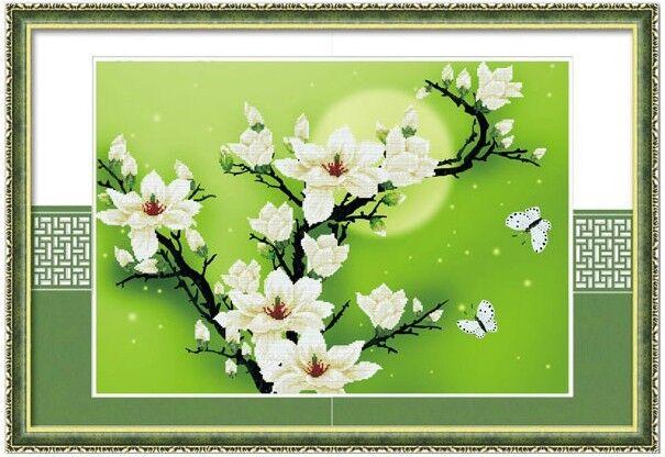 "*New~~ 5D Precision 12CT Printed Cross Stitch Kit ""Magnolia"" -- 72cm*52cm"