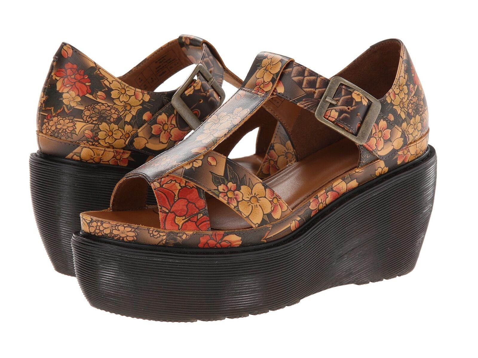 Dr. Martens Women`s Adaya Platform Cross Strap Sandal Tattoo US 8 EU 39 UK 6