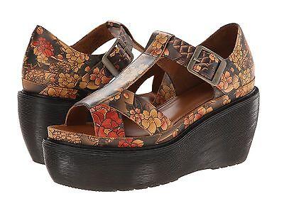 Dr. Martens Doc Flower Detail Brown Leather Slides Sandals
