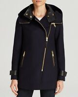 Mackage Dalida Asymmetrical Zip Hooded Navy Wool Coat Sold Out M 8 10 650