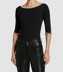 $395 Marc Jacobs x Capezio Womens Black Boat Neck Pearl Trim Leotard Size M
