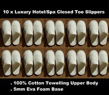 10 x Unisex Luxury Hotel/Spa 100% Cotton Quality Closed Toe Slipper in White