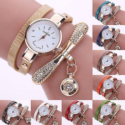 New Women Fashion Ladies Faux Leather Rhinestone Analog Quartz Wrist Watches