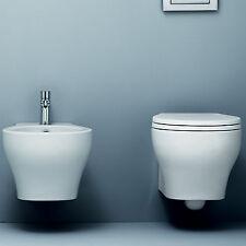 Nuovi sanitari sospesi wc + bidet ceramica salvaspazio + copri wc design moderno