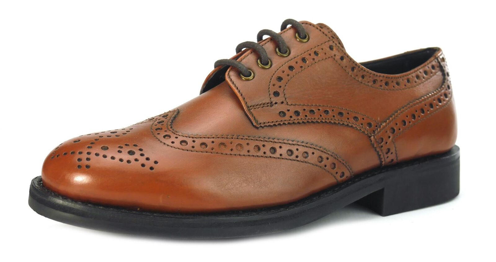 Frank James Benchgrade Monmouth Brogue Welted Target Mens Shoes Tan Brown