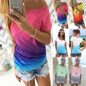 Womens-Gradient-T-Shirt-Tops-Summer-Short-Sleeve-Casual-Loose-Blouse-Tee-Shirts