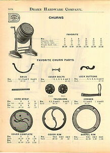 1914 Ad Favorite Wood Barrel Butter Churn Parts Repair Diagram List
