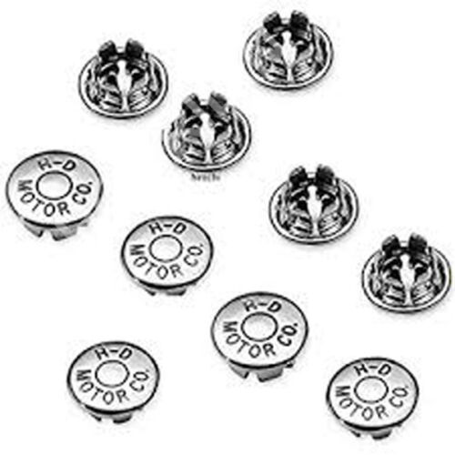 NEW OEM HARLEY MOTOR CO LOGO CHROME 5/16 IN ALLEN HOLE PLUGS 10pc MADE IN USA