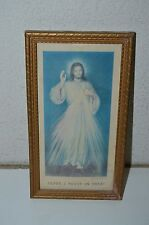 Vintage 1954 JESUS Paper Print Photo Idol Wooden Framed Rare