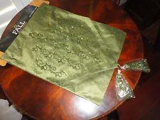 BROTHER SISTER DESIGN GREEN BEADED TASSELED FALL TABLE RUNNER 13 X 72