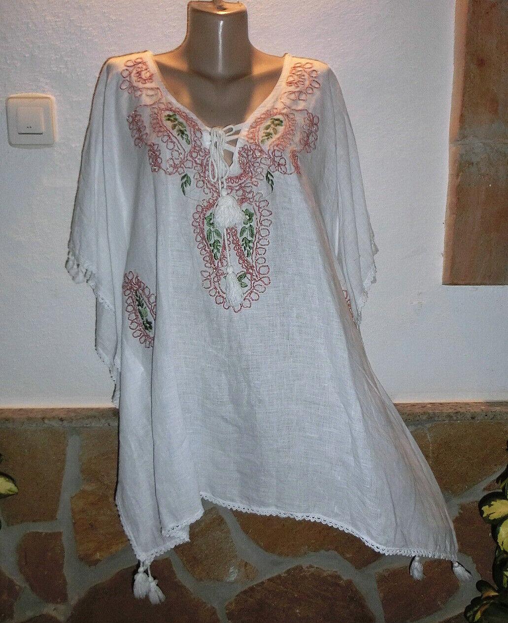 Italy Tunika Kimono Hippie Boho Leinen Stickerei Weiß Quasten Ibiza EG 38-44