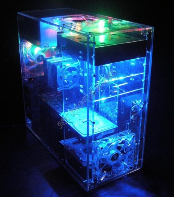 Premium DIY Clear Acrylic Computer Mini Tower Case for ATX MB Water Cooling