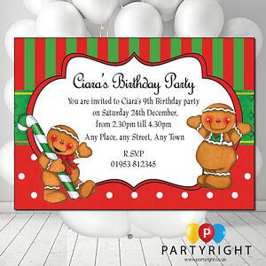 Detalles De Personalizado Pan De Jengibre Navidad O Cumpleaños Niños Adultos Fiesta Invitación Pk 10 Ver Título Original
