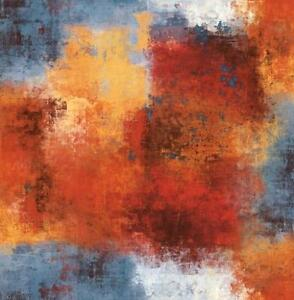 Wallpaper-Designer-Blue-Orange-Red-Yellow-Cream-Modern-Faux