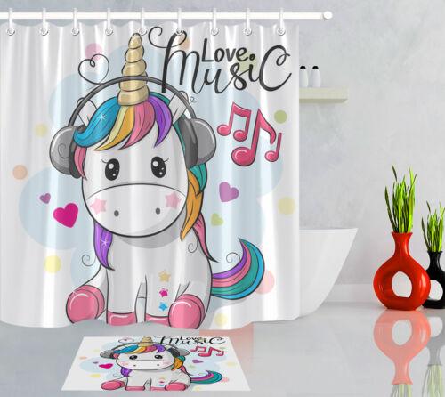 "Cartoon Cute Unicorn Listening Music Waterproof Fabric Shower Curtain Set 72x72/"""