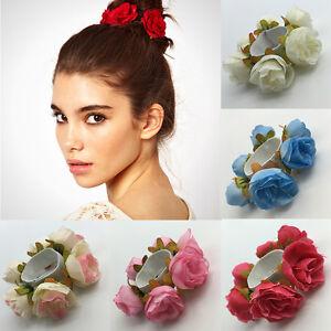 Rose-Blume-Haarknoten-Ring-Halterung-Girlande-Haargummis-Blumenmuster-band-U1D5