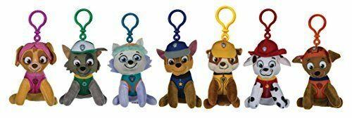 1 x SET OF 7 ASSORTED PAW PATROL PLUSH BAG CLIPS KEY RINGS