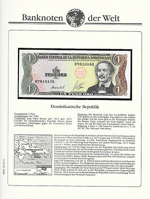 Banknotes of All Nations Dominican 1984 1 Peso P126a1 UNC A-N Vega Abinader