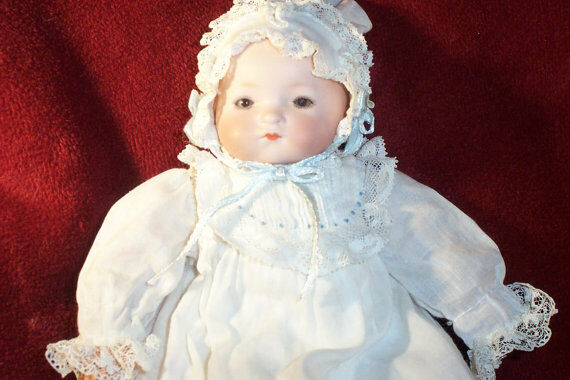 Armand Marseille DREAM BABY, Antique 9 Inch Doll, Bisque Dome Head, Cloth body,