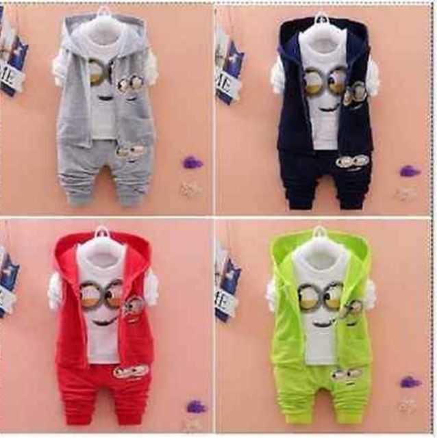 3PCS Baby Boys/Girls Minion Clothing Set Long Sleeve Shirt+Pants+ Vest Hoodie