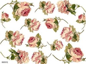 VinTaGe IMaGe GoRGeouS PaLe PinK CaBbaGe RoSeS SHaBbY WaTerSLiDe DeCALs