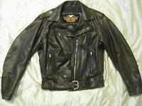 Harley Davidson Motorcycle Leather Jacket Brown Shovelhead Biker USA Womens S