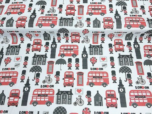White Love LONDON RED BUS SEWING Offcut Remnant 75 cm x 100 cm Polycotton Fabric