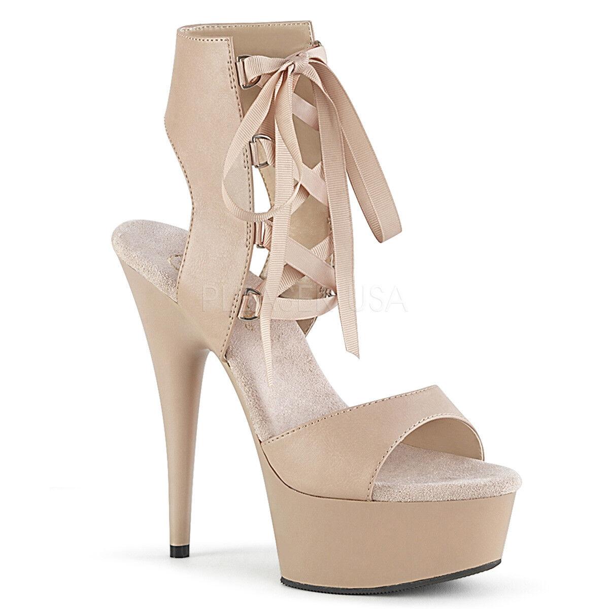 PLEASER - DELIGHT-600-14 Stiletto Open Heel, Open Toe Toe Toe Front Lace Up Bootie 4316ff