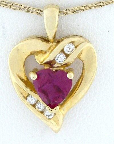 10K gold PINK CUBIC ZIRCONIA DOUBLE HEART PENDANT CHARM