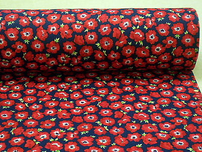 POPPIES ++ NAVY++ COTTON PRINT FABRIC by ROSE & HUBBLE