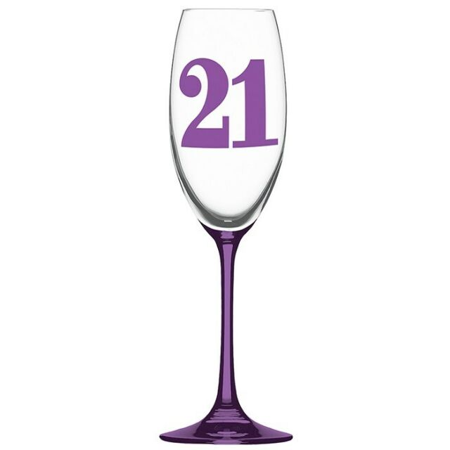Gift Boxed 21st Birthday Wine Glass Champagne Flute