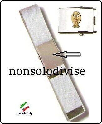 Cintura Canapa Militare Polizia di Stato Fibbia a Rilievo Canapa Bianca Original