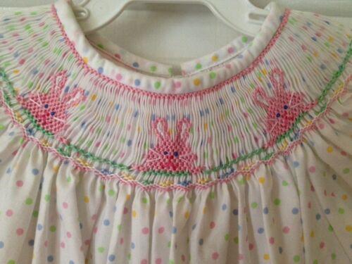 Petit Bebe Easter Bunny Smocked Polkadot Bishop Dress Girls 24M