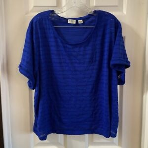 Cato Women's Plus Size Blue Scoop Neck Short Sleeve Eyelet Tee 26/28