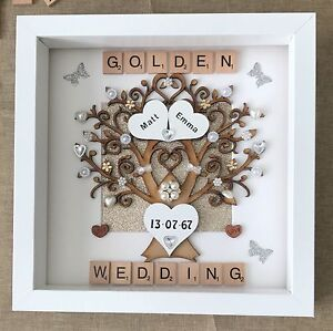 Personalised Handmade Golden 50th Wedding Anniversary Tree Scrabble