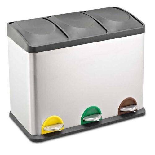 45 L Acero Inoxidable Multi 3 compartimiento grande oficina de Reciclaje Cubo pedal reciclaje